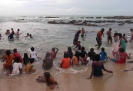 Girls enjoying the sea at Kanyakumari