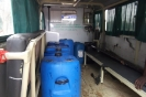Water containers in the ambulance